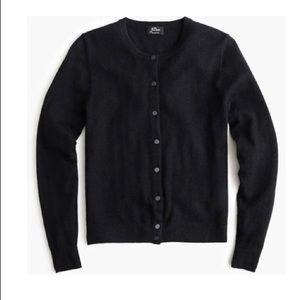 Classic J. Crew black cardigan, 100% merino wool